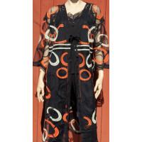 M.X.O 31248 kimono svart/apelsin