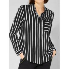 Street One stripped shirtcollar blouse 341794/ Svart & vit